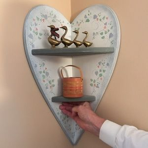 Heart-shaped, wood shelf